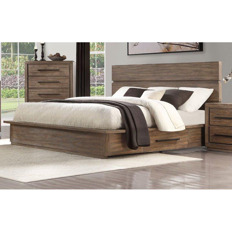 Modern Rustic Pine Queen Platform Bed Haven Rustic Bedroom