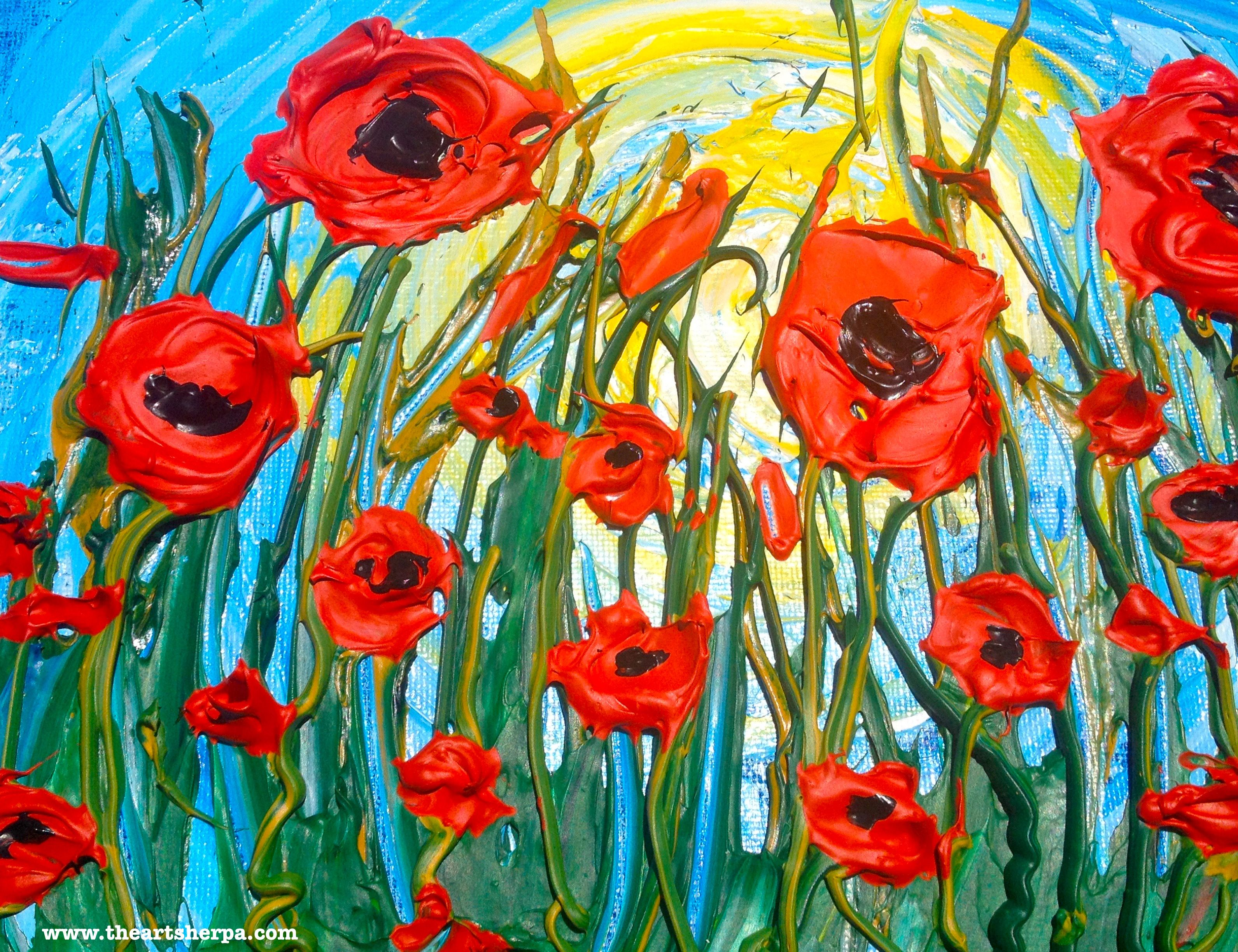 Popping poppies 3d impasto knife painting in acrylic show the step popping poppies 3d impasto knife painting in acrylic show the step by step tutorial on youtube baditri Image collections