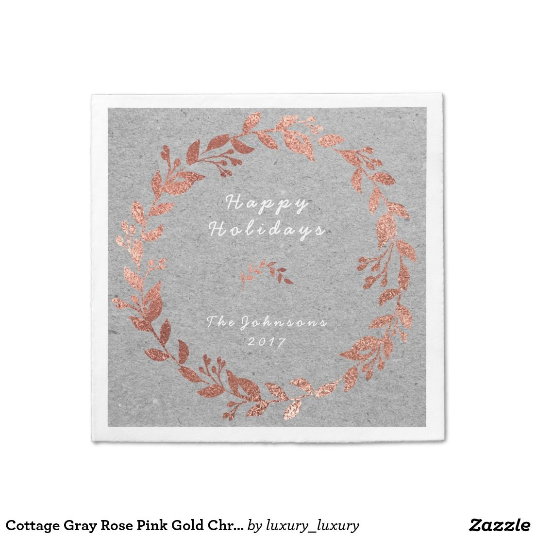 Cottage Gray Rose Pink Gold Christmas Paper Serviettes