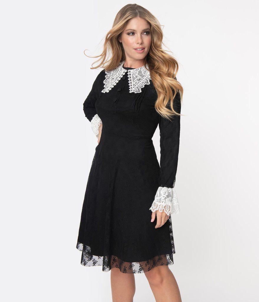 Black White Lace Collar Weird Sisters Fit Flare Dresses Unique Vintage Vintage Black Dress Fit N Flare Dress Flare Dress [ 1023 x 879 Pixel ]