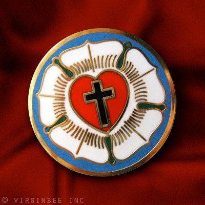 Luther Rose Seal Lutheran Symbol Christian Cross Gold Enamel Lapel