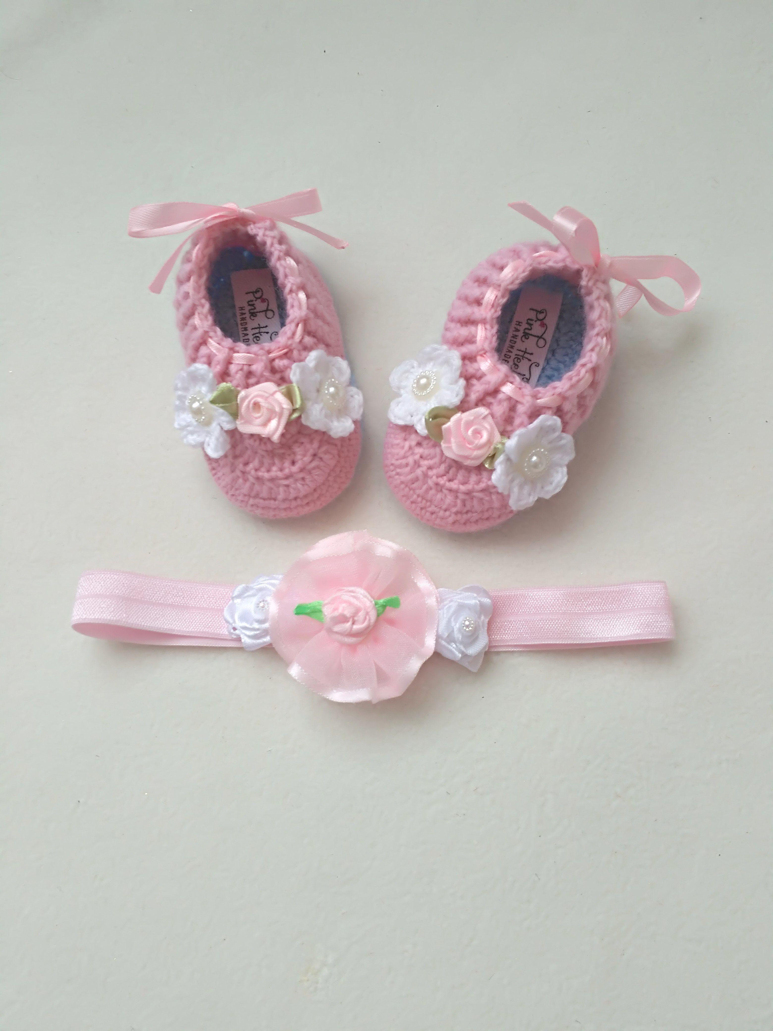 164daca44e4ee Newborn Girl Booties, Booties Headband Set, Pink Baby Booties, Rose ...