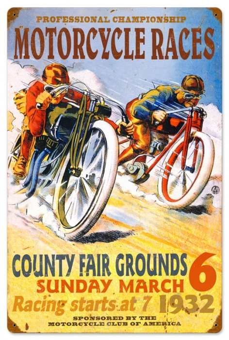 Vintage and Retro Wall Decor - JackandFriends.com - Retro Pro Motorcycle Races Tin Sign 16 x 24 Inches, $58.97 (http://www.jackandfriends.com/vintage-retro-pro-motorcycle-races-metal-tin-sign-16-x-24-inches/)