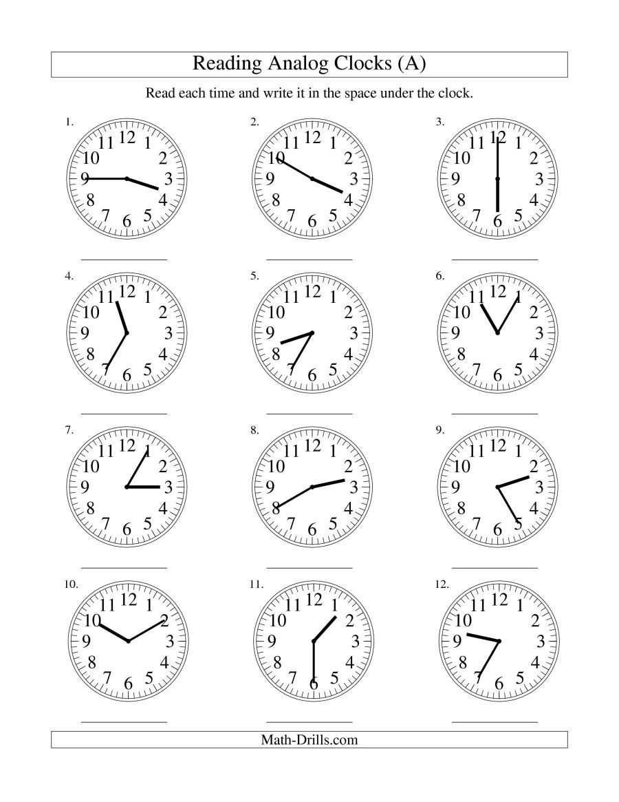 The Reading Time on an Analog Clock in 5 Minute Intervals (A) math ...