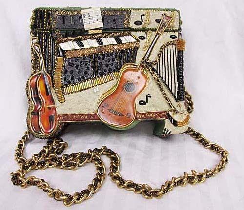 Mary Frances Wood Box Bag Purse Musical Instruments Piano Violin Guitar