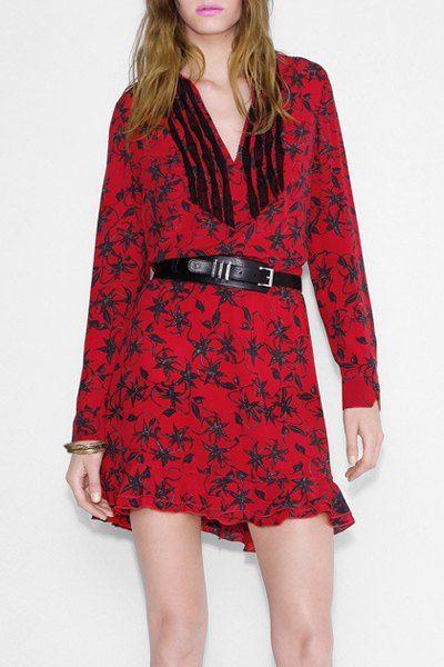 Women s Simple V-Neck Long Sleeve Print Dress  70352b178
