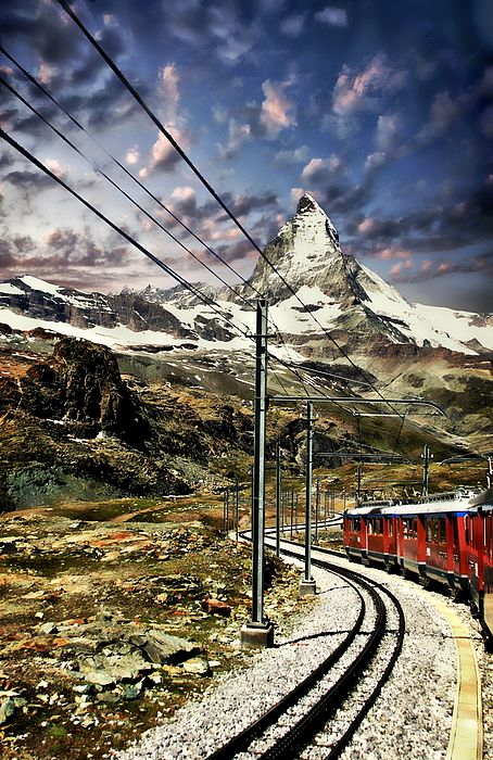 A view of the Matterhorn taken from the express train
