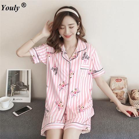 727cbb24ba Cute Cartoon Women s Pajama Sets Cotton Print 2 Pieces Set Crop Top Shorts  women Casual turndown