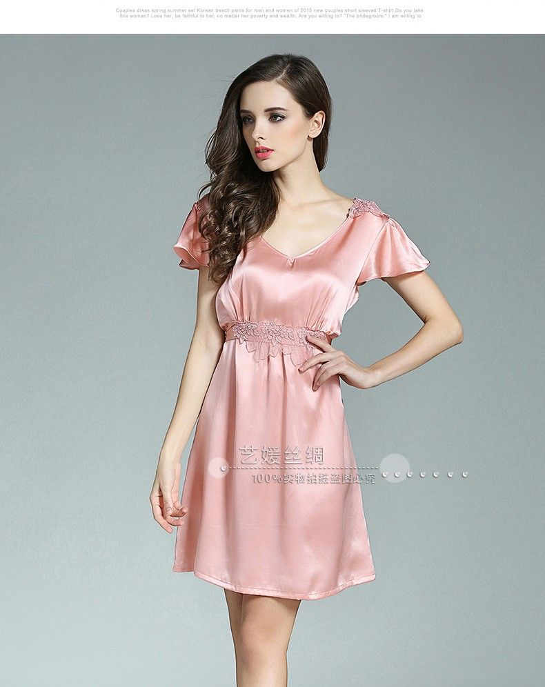 SALE  100% Genuine Silk Nightgown Female Sexy V-Neck Night Gowns Short a3093c166