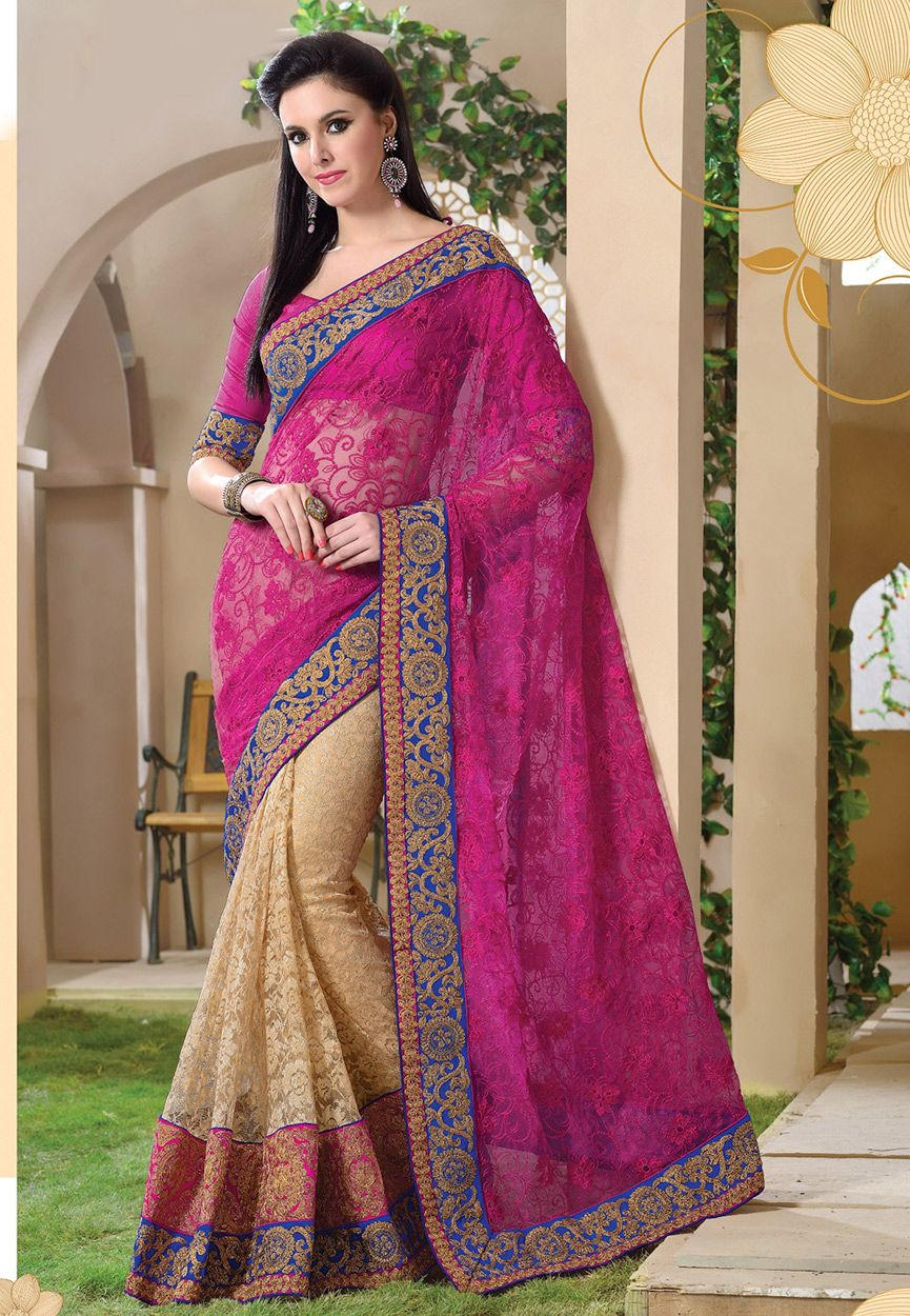 7d7475f0c3192c Buy Fuchsia and Beige Net and Net Brasso Saree with Blouse online ...
