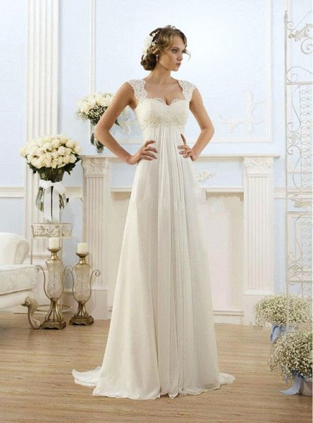 Cheap Vintage Modest Wedding Gowns Capped Sleeves Empire Waist Plus ...
