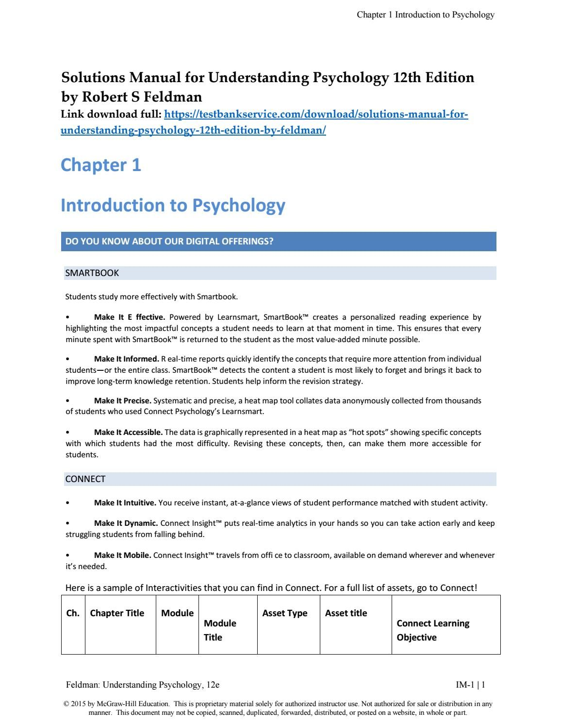 Understanding Psychology Th Edition By Robert S Feldman Soutions