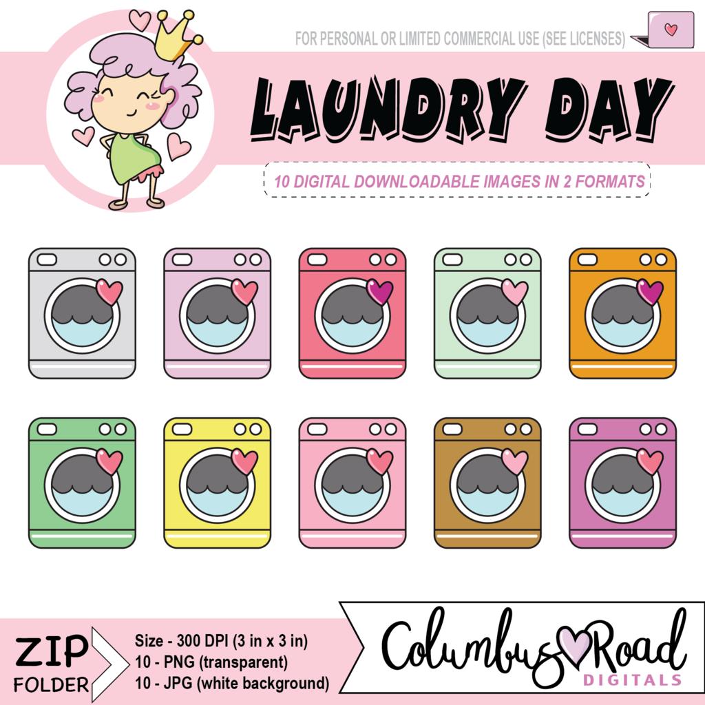 medium resolution of laundry day digital downloadable clipart washing machine digital artwork goodnotes art sticker art