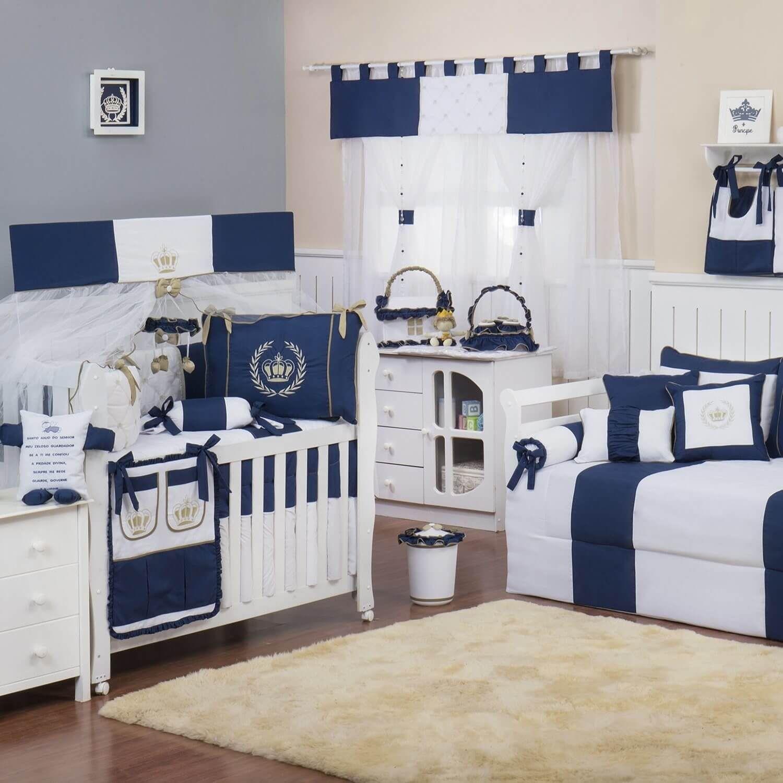 Quarto Para Beb Realeza Luxo Marinho Quarto De Beb Azul  ~ Quarto Azul Marinho E Branco E Montar O Quarto Do Bebe