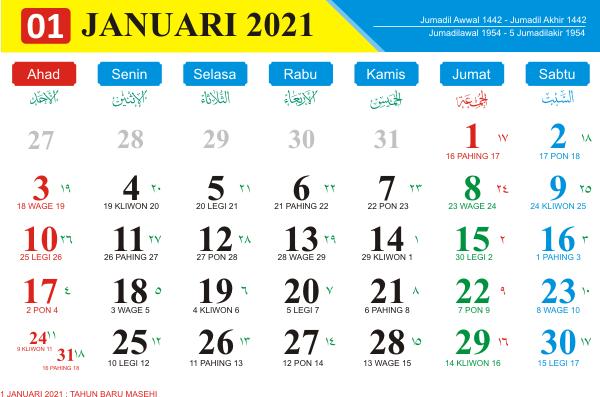 Download Master Kalender 2021 Indonesia CDR atau PDF ...