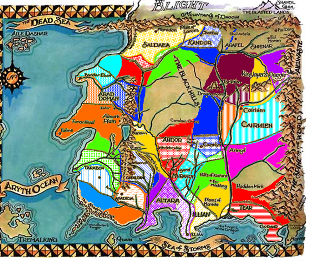 Wheel of Time map, Post-Trolloc War nations borders applied to ...