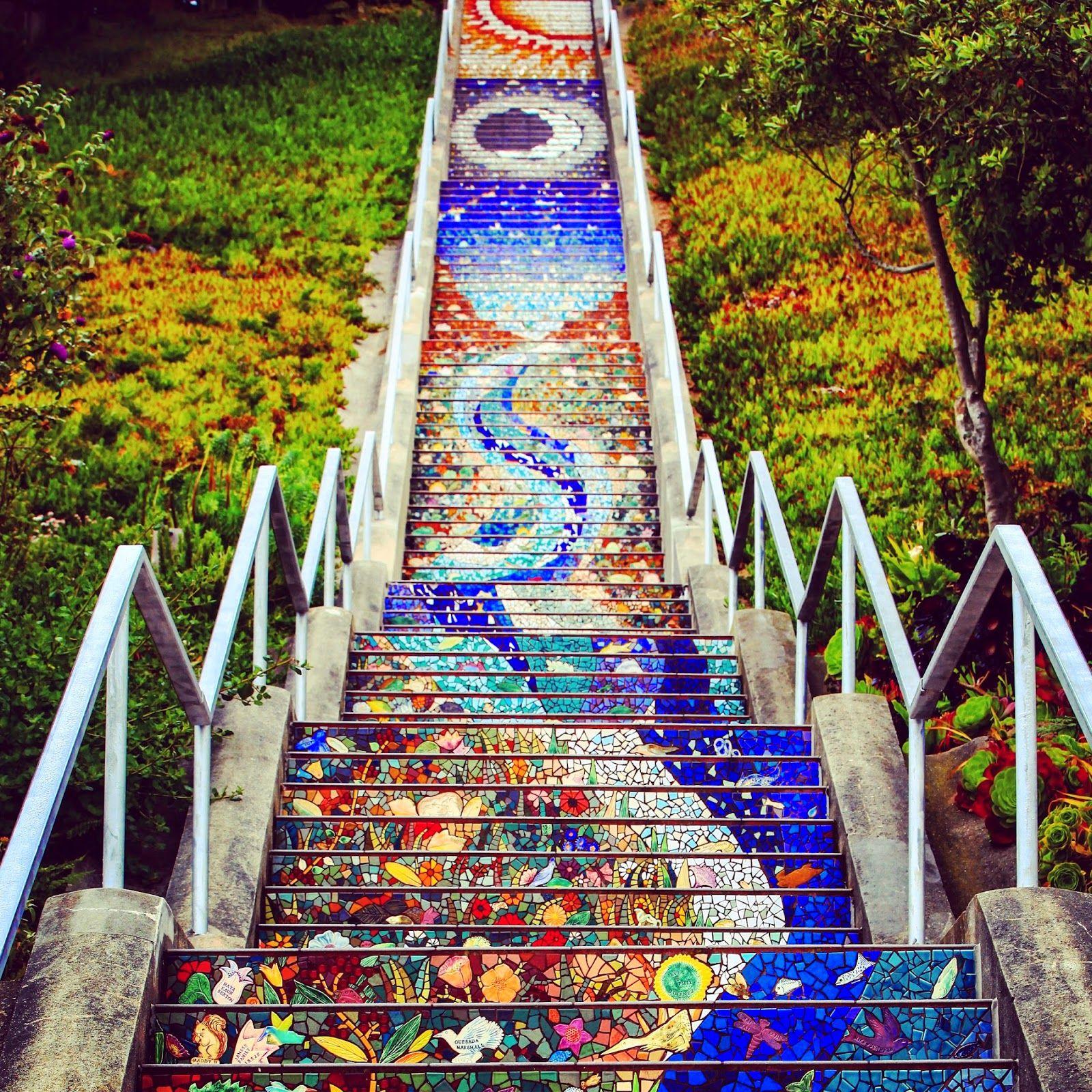 Art Places In San Francisco: 16th Avenue Mosaic Steps #california#atrações