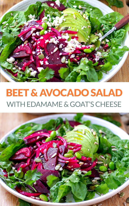 Beet Avocado & Edamame Salad (Gluten-Free, Vegetarian, Healthy, Yotam Ottolenghi Inspired Recipe)