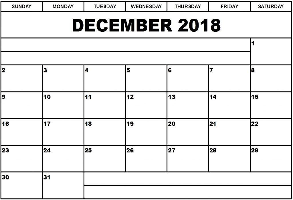 Calendar 2018 December Blank Template December 2018 Calendar