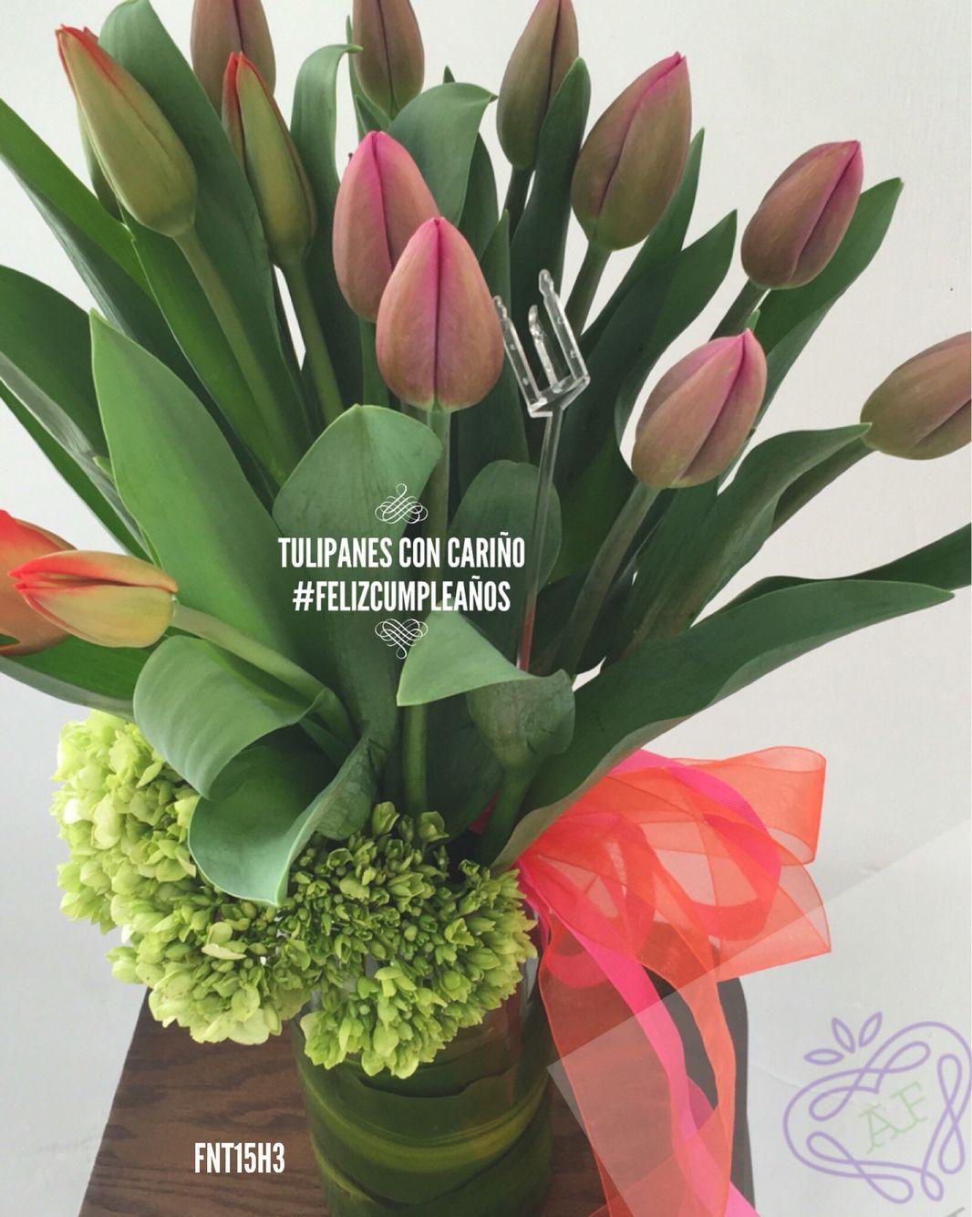 010e88696b6ea Arreglo de tulipanes y hortensias Arreglos Florales Tulipanes
