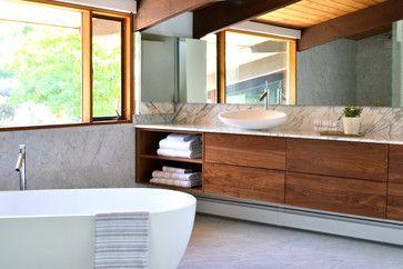 mid century modern deck house master suite - midcentury - Bathroom - New York - d.schmunk interior design services