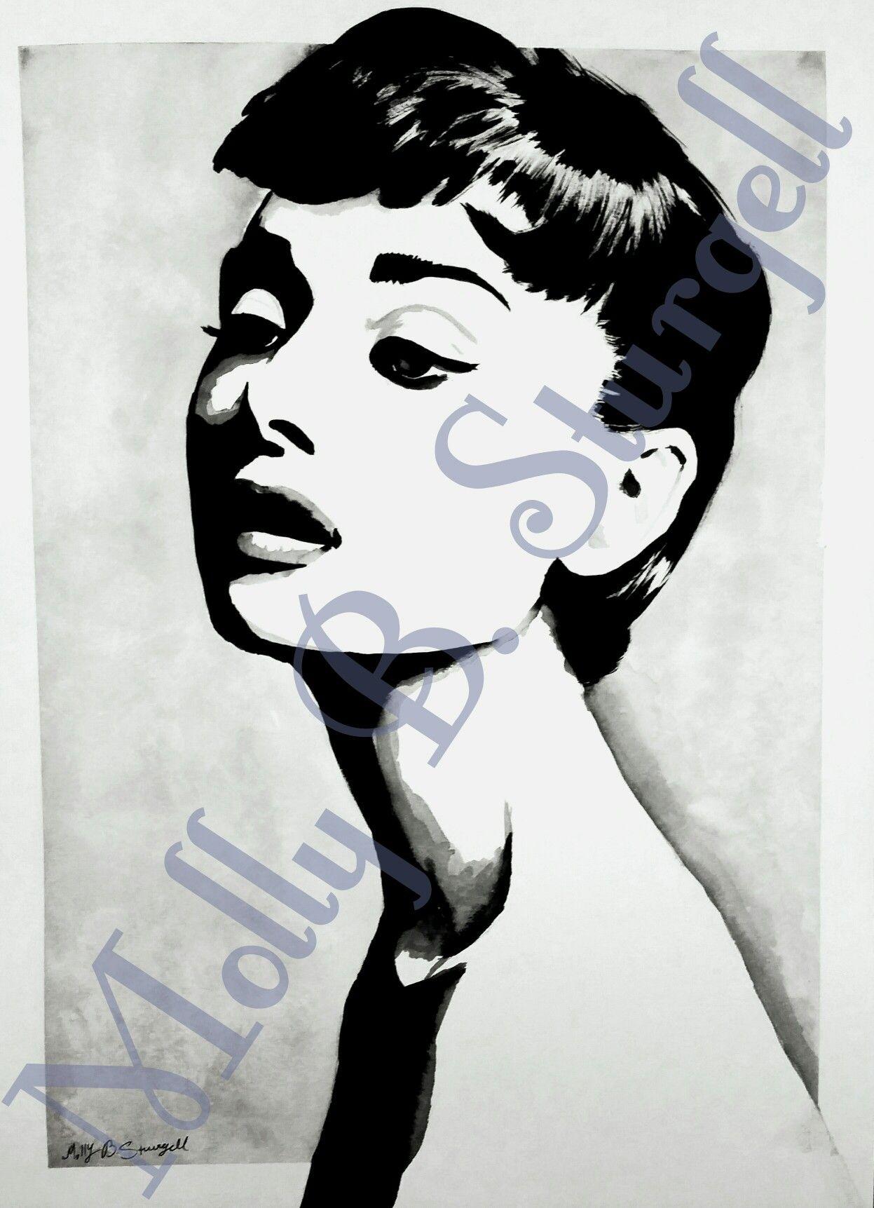 Audrey Hepburn watercolor portrait art  by Molly B. Sturgell