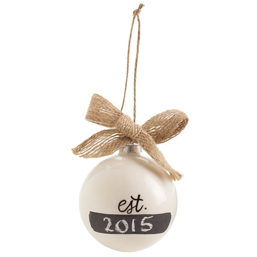 "Ceramic sphere ornament features MR & MRS message topped with burlap bow. Reverse side features ""est"" space for chalkboard commemoration. Great gift for the newlywed couple."