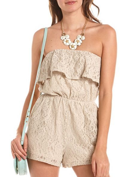 Ruffled Bust Lace Tube Romper: Charlotte Russe
