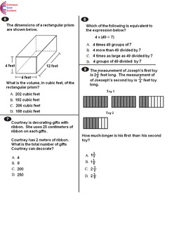 5th Grade Common Core Math Assessments 2 Tests Forms A And B Fifth