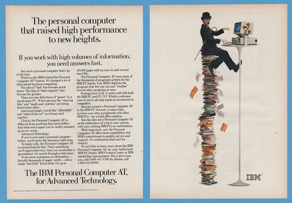 1985 IBM Vintage PC Personal Computer AT Charlie Chaplin Heights photo print Ad