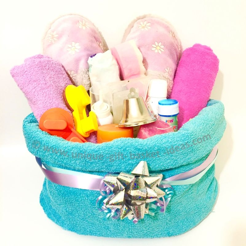 """A towel gift basket container - the perfect container solution when a towel is part of the gift basket. Follow this easy tutorial and make an """"origami"""" ..."""