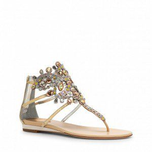 Gold Flip Flops Wedding Sandals With Colorful Rhinestones