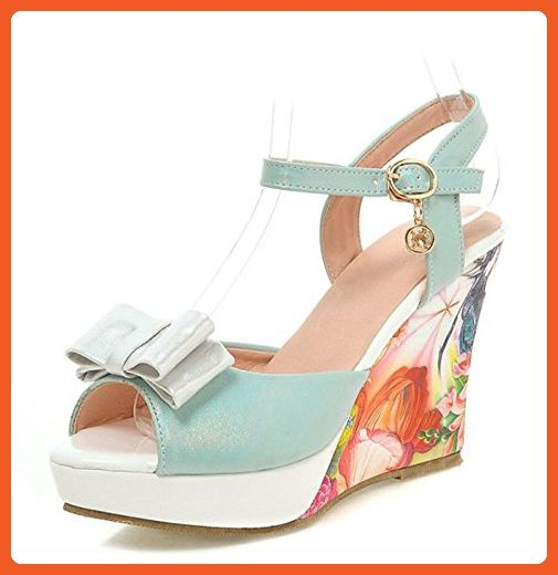 bb002a8de8a Aisun Women s Floral Print Platform Peep Toe Buckle Ankle Strap Dress High  Heels Wedge Sandals With Bows (Blue