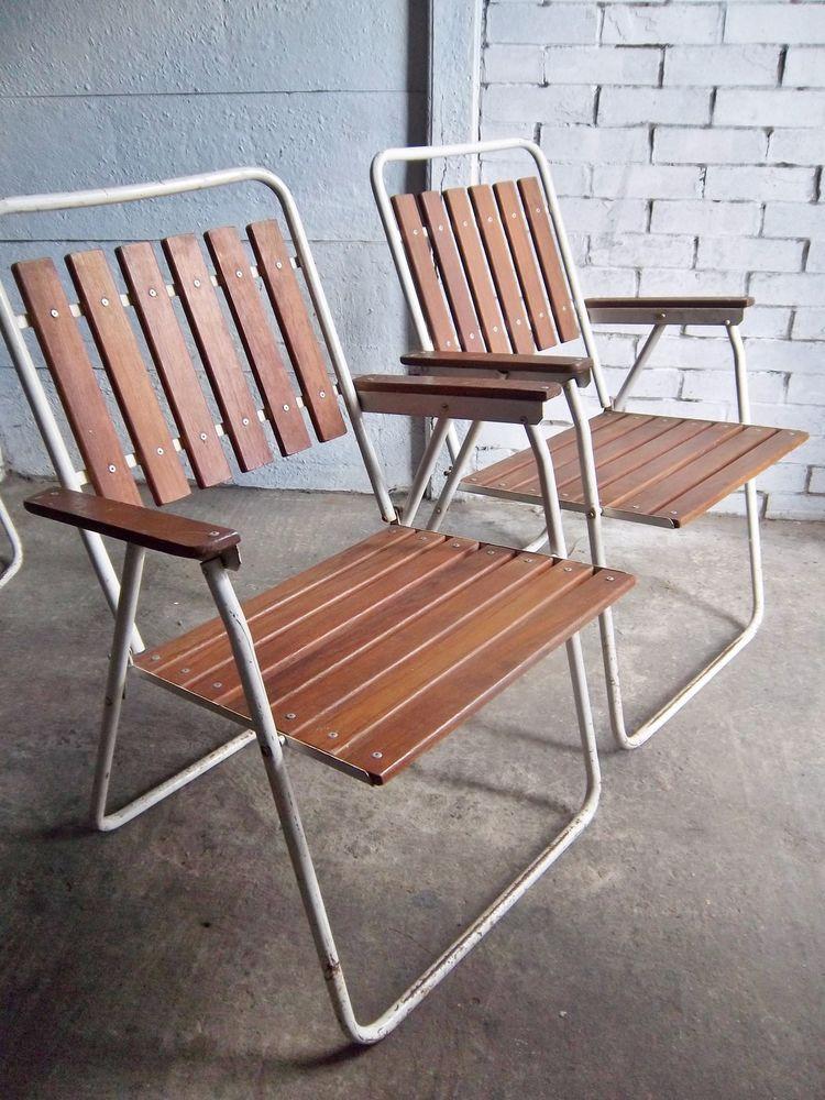 Vintage Retro 70s Metal Slatted Wood Folding Garden