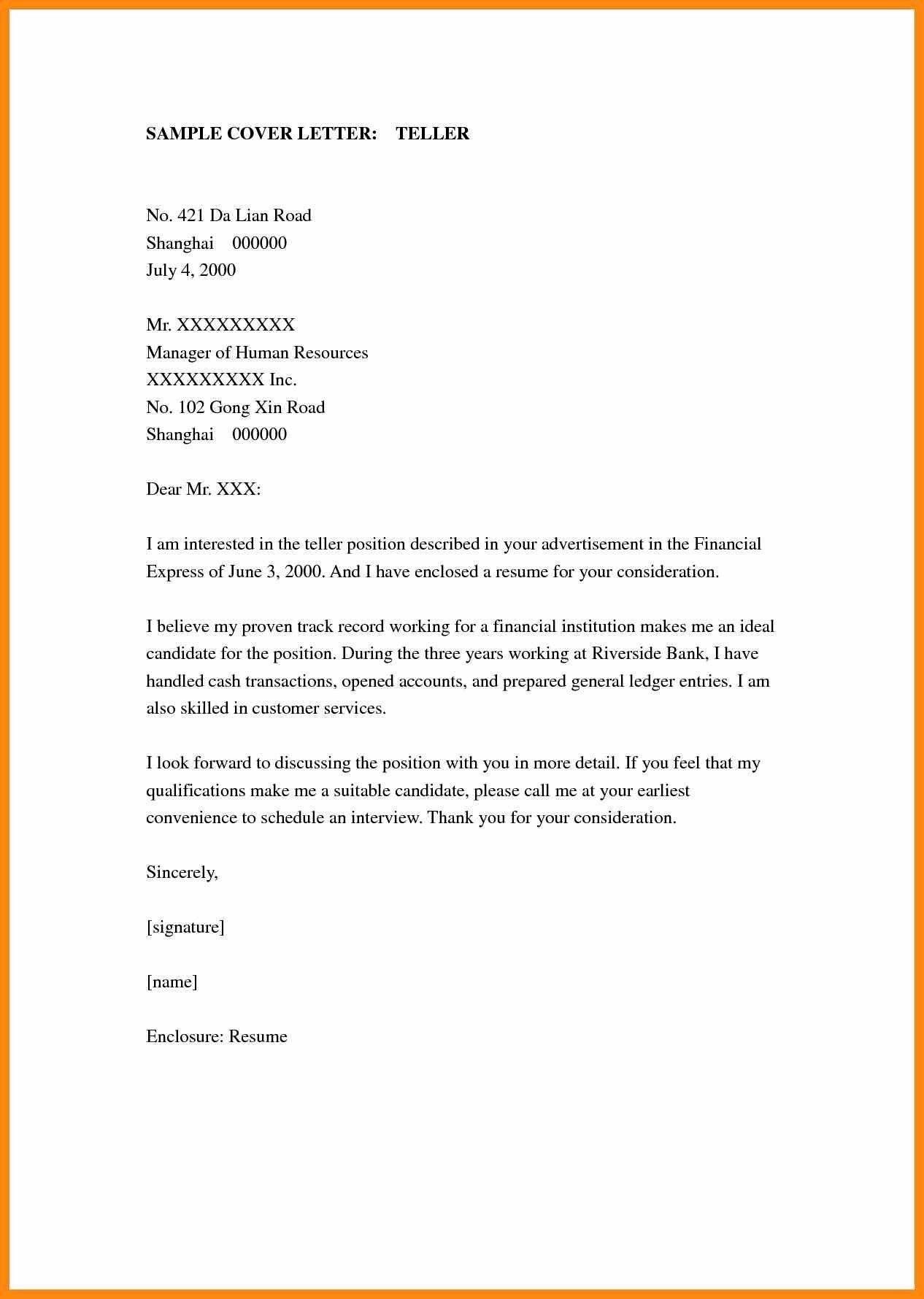 23 Bank Teller Cover Letter In 2020 Cover Letter For Resume