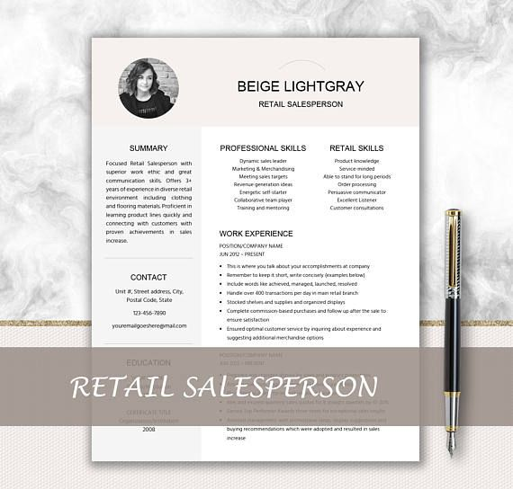 Retail Salesperson Resume With Photo Cover Letter Design Promotion