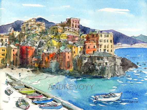 Boccadasse Italy Art Print From An Original Watercolor Painting