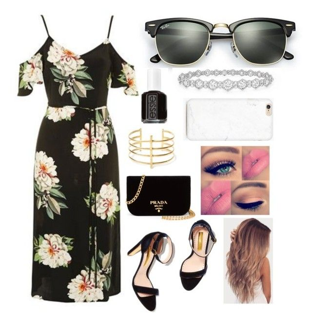 """Untitled #823"" by aneesakhan02 ❤ liked on Polyvore featuring Topshop, Prada, Ray-Ban, BauXo, Essie and Epoque"