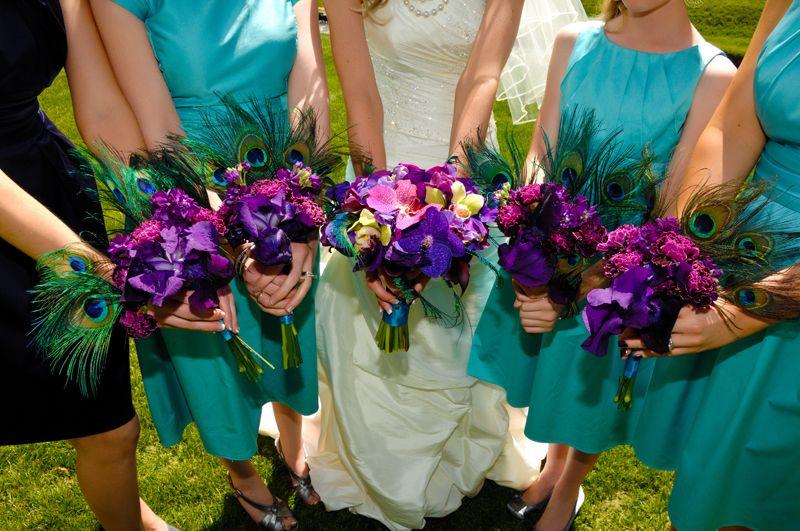 Peacock Feather Fan Bridesmaid Bouquets Utah Wedding Flowers