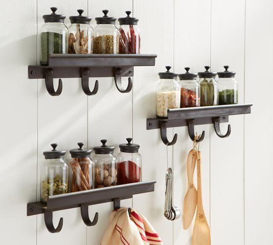 Modular Spice Shelf With Hooks Kitchen Wall Shelves Open Kitchen Shelves Wall Shelf Decor