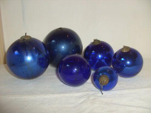 ancien lot de 6 boules de no l en verre souffl de couleur bleu xixe ebay boules de no l en