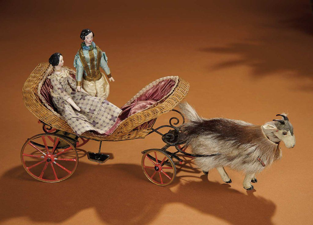 French Mechanical Goat Cart by Theroude with Carved Wooden Man and Woman 2500/3500