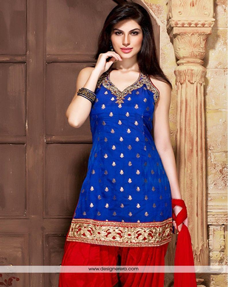 6972912a8daf8 DE Lovely Royal Blue And Red Combination Punjabi Suit