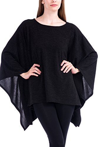 7a77ac4b404 Modern Kiwi Solid Knit Sweater Caftan Poncho Tunic Black One Size >>> You  can get more details by clicking on the image. #WomensSweaters