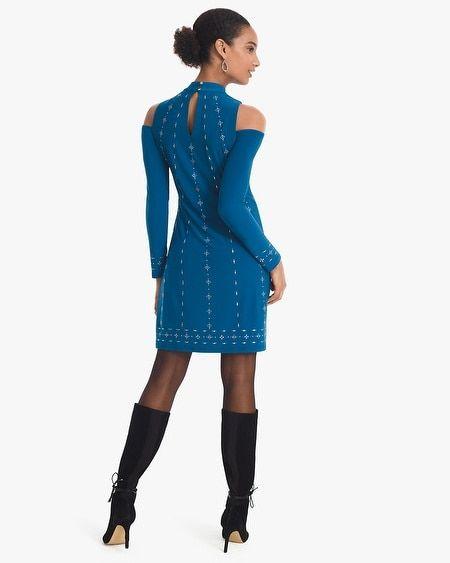 5990b23eb5b Women s Cold-Shoulder Embellished Mock Neck Knit Shift Dress by White House  Black Market
