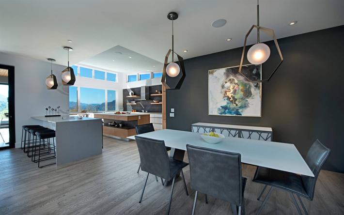 Interni Moderni Ville : Scarica sfondi villa di campagna interni moderni tono di grigio