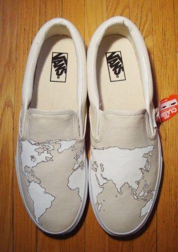 Custom Mens Shoes Classic World map Slip-on Canvas