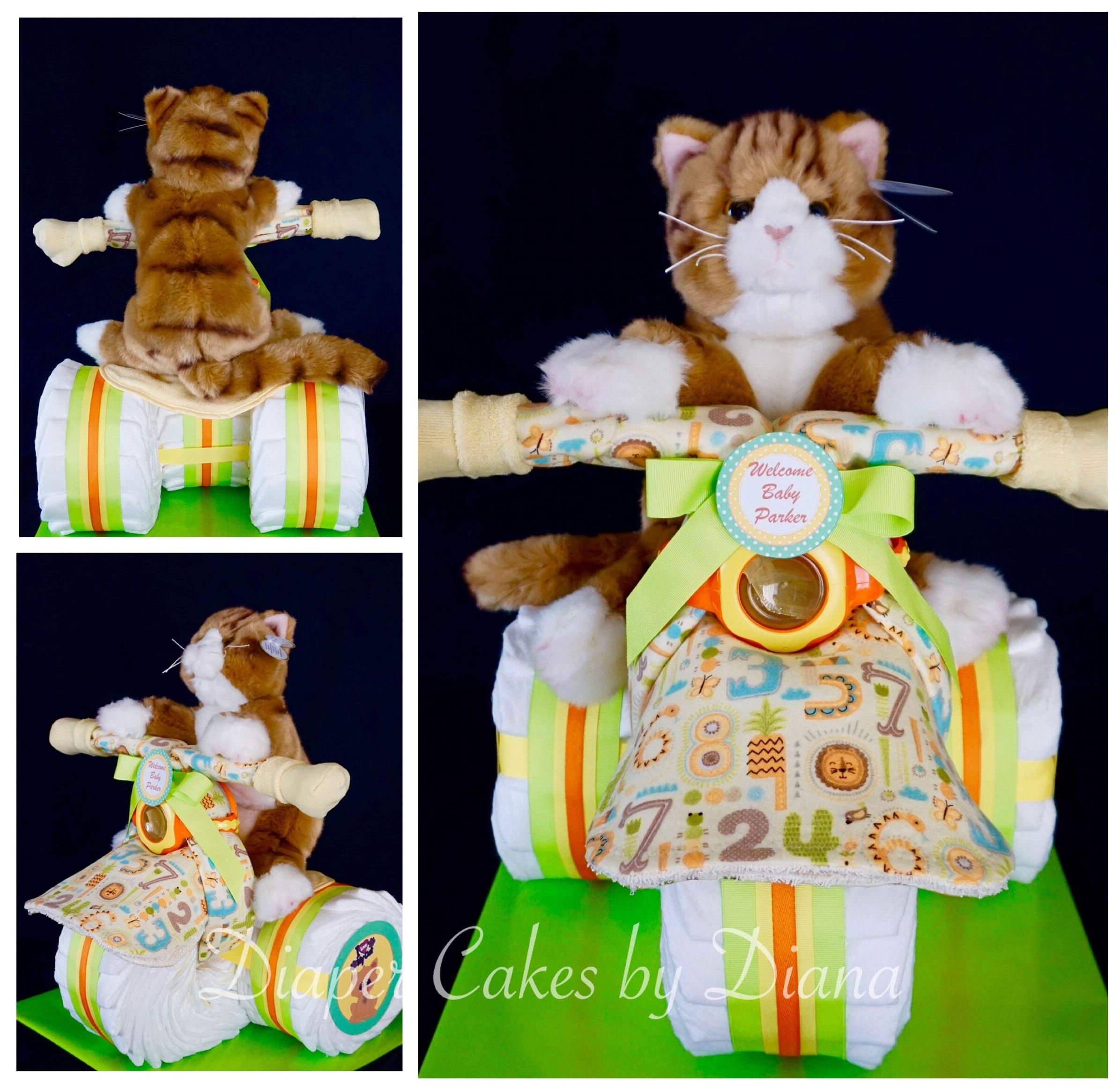 Kitten Diaper Tricycle Made For A Cat Lovin New Mom To Be Www Facebook Com Diapercakesbydiana Diaper Tricycle Welcome Baby Kitten