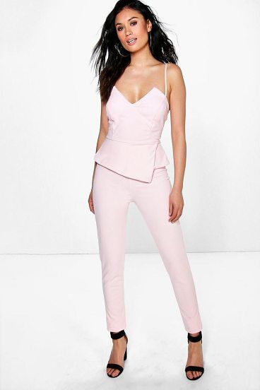 13028991ba48 Molly Peplum Style Skinny Leg Jumpsuit by Boohoo. Jumpsuits are your  day-to-night dress alternativeYour 70s style inspiration starts with a  jumpsuit.