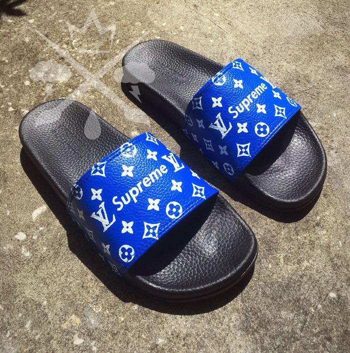f05ed9481 Blue Supreme Louis Vuitton Luxury Designer Custom Slides Sandals Flip Flops  by DrippedCustomz on Etsy https